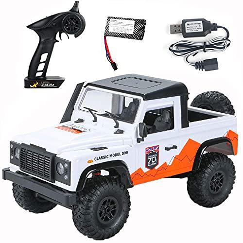ykw Radio Control RC Cars Juguetes RTR Crawler Off-Road Buggy para Modelo de vehículo Coche Blanco 1 Batería Regalo Creativo
