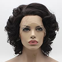 Lace Front Synthetic Wig Short Wavy Black and Brown Mix Wig Heat Friendly Heavy Density Stylish Wig