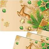 matches21 - Set di 4 tovagliette all'americana, motivo natalizio, cervo, stelle dorate, verde, 43,5 x 28,5 cm, lavabili
