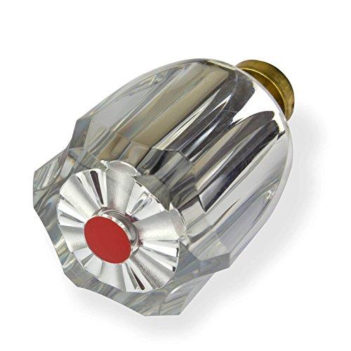 Stabilo-Sanitaer Hahnoberteil 1/2 Zoll rot Ventil Oberteil Messing Warmwasser mit Acryl-Griff Ersatzteil Armatur Wasserhahn