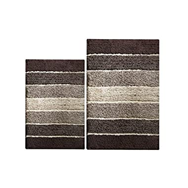 Chardin home - 100% Pure Cotton - 2 Piece Cordural Stripe Bath Rug Set, (24''x40'' & 21''x34'') Brown-Beige with Latex Spray Non-Skid Backing