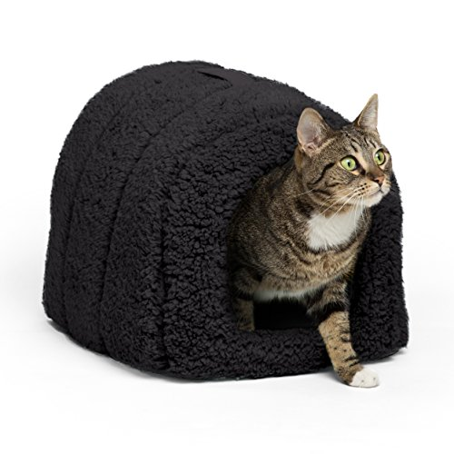 Best Friends by Sheri Pet Igloo Hut, Sherpa, Black - Cat and Small Dog Bed Offers Privacy and Warmth for Better Sleep - 17x13x9' - For Pets 9lbs or Less