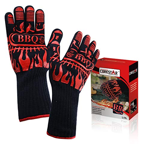 CoreStar BBQ Grill Gloves  Premium Extreme Heat Resistant Up to 932° F  Great for BBQ Oven and Grill  Non Slip  Washable  Safe for Cooking Grilling Baking 1 Pair Black