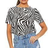 TOPKEAL Camiseta de Manga Corta con Cuello Redondo a Rayas con Estampada Cebra Irregular para Mujer Maduras de Moda
