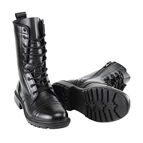 BURGAN 802 Combat Jump Boot (Side Zipper)   Black Unisex High Lace Up Military Paratrooper Style   Mid-Calf Genuine Full Leather for Men and Woman   Slip on Feature   Tall Lightweight Fashion Shoes