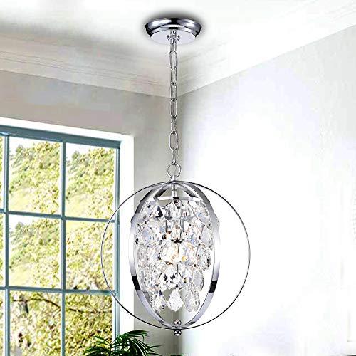 PAPAYA Chrome Crystal 1-Light Globe Orb Chandelier Pendant Globe Hanging Ceiling Light Fixture