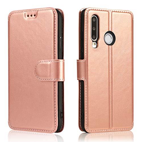 LeYi Hülle für Huawei P30 Lite / P30 Lite New Edition 2020 Mit HD Schutzfolie,Leder Handyhülle Stoßfest Wallet Magnet Schutzhülle Tasche Slim Silikon Bumper TPU Hülle für Handy P30 Lite Matt Rose Gold