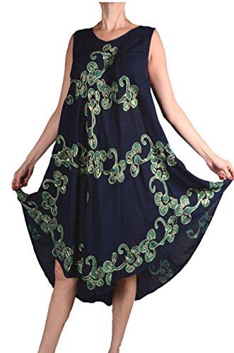 Grisodonna Style Ibiza Sommer Lagenlook Tunika Kleid Stickerei abstrakt Print 42 44 46 48 50 M L XL XXL Urlaub Strand Schwarz Grün (44)