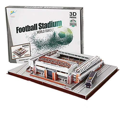 U/A 3D Jigsaw Puzzle Liverpool Anfield Stadium World Famous Football Stadium DIY Model, Children's Educational Toy For Liverpool Fans 165Pcs