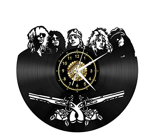 "Xiayanmei Roses Vinyl Record Wanduhr Fan-Kunst-Dekor Originelles Geschenk Einzigartige dekorative Vinyl Clock Schwarz 12\"" 'Guns N (30 cm),I"