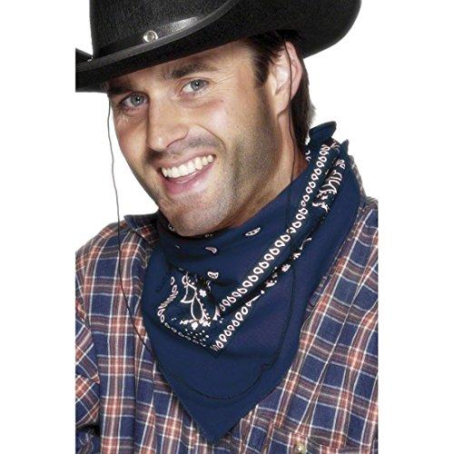 NET TOYS Foulard Bandana Foulard de Cow-Boy Bleu Bandana de Cowboy Western Foulard Cow-Boy shérif rodéo déguisement Accessoire