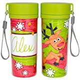 Ready 2 Learn Christmas Crafts - Design Your Own Travel Mugs - Set of 2 - Christmas Crafts for Kids - Reusable 11 oz Water Bottles - BPA Free,CE10024
