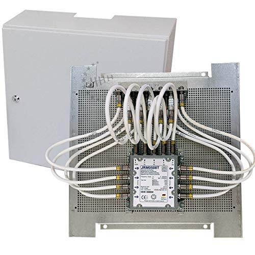 Anschlussfertige Sat-Verteilung mit Multischalter Jultec JRM0508T - fix und fertig vormontiert im Montageschrank 40x40x15 cm