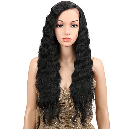 """Joedir Lace Front Wigs 28"""" Long Curly Wavy Black Color Hight Temperature Synthetic Wigs For Black Women 130% Density Wigs 200g"""