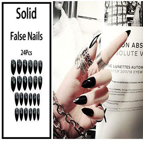 Sethexy Pure Farbe Glänzend Scharf Falsche Nägel Hell Mode Stilett Vollständige Abdeckung Lange Acryl Klaue 24 Stück Falsche Fingernägel für Frauen und Mädchen (Schwarz)