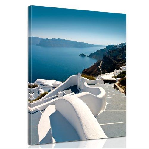 Bilderdepot24 Bastidor Imagen - Cuadros en Lienzo Escaleras de Santorini (Grecia) 40x50cm - Made in Germany!