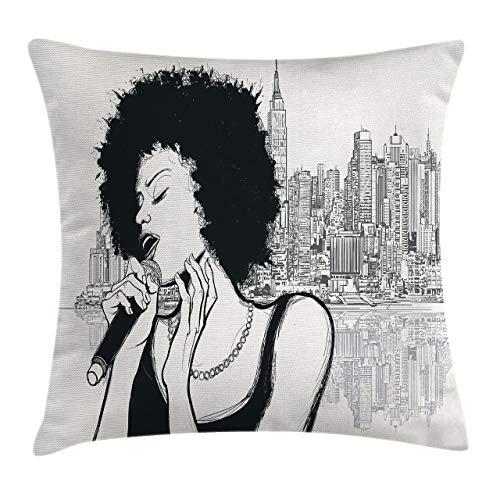 Funda de cojín de Almohada Africana, Chica de música de Jazz Estadounidense actuando Frente a la ilustración de Manhattan de Nueva York, Funda de Almohada Decorativa Cuadrada Decorativa, 45x45 ne
