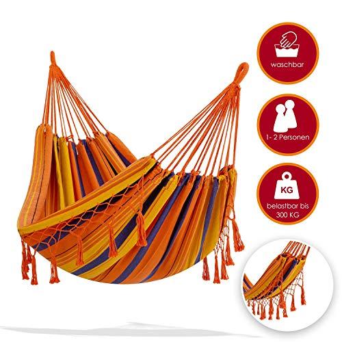 KESSER® Hängematte 300kg belastbar 320x150cm max. Belastbarkeit 300 kg, 1-2 Personen, atmungsaktiv Fransen wetterfest Camping Garten Tuchhängematte Mehrpersonen, Farbe:Orange