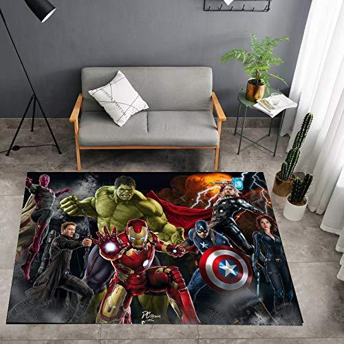 Alfombra de la Sala Marvel Capitán Avengers Alliance Dibujos Animados Dormitorio Creativo Moderno Habitación para niños Alfombrilla Antideslizante Decoración del hogar 80cm x 120cm