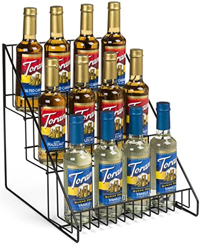Set of 2- Wire Store Fixture, Countertop Retail Display Rack, 3 Tiers, Open Shelf (Black Steel)