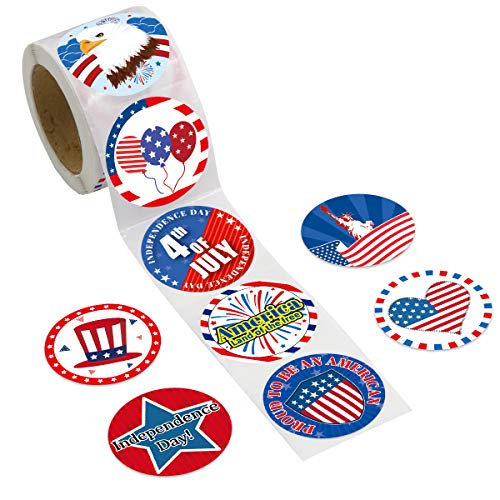 200 Pcs Patriotic Stickers Perforated Roll Sticker 4th of July Sticker for Kids Party Classroom...