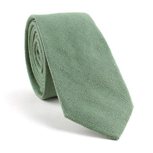 "TAGERWILEN Cotton Solid Skinny Men's Necktie 2.36"" Tie (Grass green)"