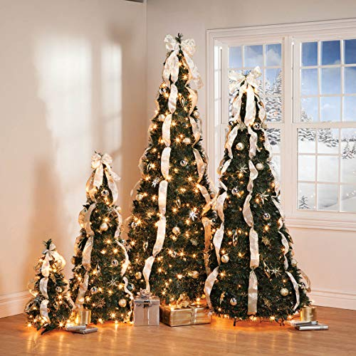 7 ft Pop Up Christmas Tree with Silver and Gold Decorations