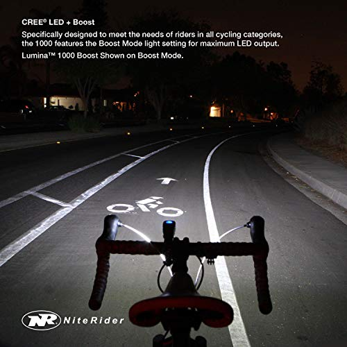 NiteRider Lumina 1000 Boost Front Bike Light Sabre 110 Rear Bike Light Combo Pack- LED USB Rechargeable Bicycle Headlight Water Resistant Mountain Road City Commuting Cycling Safety Flashlight