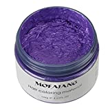 Hair Color Wax Temporary Hairstyle Cream Instant Colored Clay Styling Clay Hair Color Wax Mud Dye Cream Temporary Modeling for Men and Women 120g (Purple)