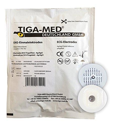 EKG Elektroden mit Festgel/Solidgel 43 mm 100 Stück Einmalelektroden Einmal- Klebe- Elektroden Typ: Tiga-Med Profi Qualität!