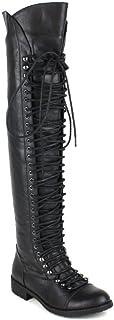 SHOEDEZIGNS Shoe Dezigns Travis 05 Women Military Lace Up Thigh High Combat Boot