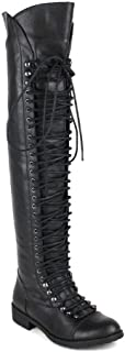Shoe Dezigns Travis 05 Women Military Lace Up Thigh High Combat Boot