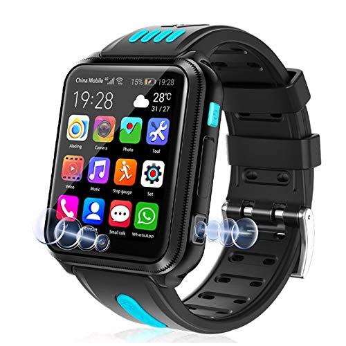 LINTRY Smartwatch Kinder 4G Wasserdicht, GPS Tracker Kinder Intelligente Uhr mit Zwei Kameras Handy Touchscreen Spiel Kamera Voice Chat Wecker für Jungen Mädchen Student Geschenk(8G+32G),Blau