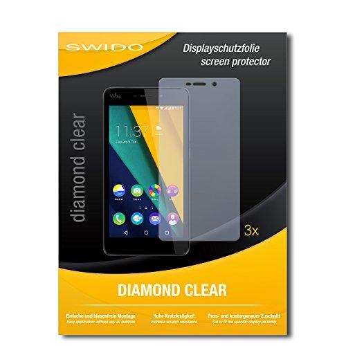 SWIDO 3 x Schutzfolie Wiko Pulp Fab Bildschirmschutz Folie DiamondClear unsichtbar