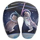 Almohada de viaje en forma de U Almohada transpirable para el cuello Space Kitten Cats Almohada de avión de viaje, Almohada en forma de U ultra acogedora Cojín para el cuello para el sueño y la siest