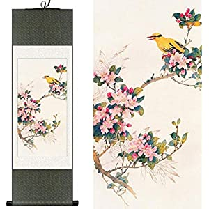 Silk Flower Arrangements YXCUIDP Features Chinese Style Chinese Silk Watercolor Flower and Birds Orioles Begonia Flower Ink Feng Shui Canvas Photo of Wall Damask Framed Roll 100X30CM