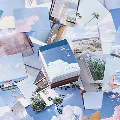 PUDIS 素材紙 紙材料 400枚入り 海外 西洋 風景 油絵 ペインティング ノート手帳用 書写紙 デザインペーパー 手紙 カレンダー スケジュール (雲に会う)