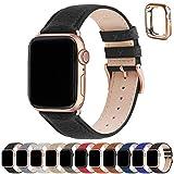 Correa para Apple Watch, Fullmosa Correas de Cuero Genuino Compatible con Apple Watch SE Series 7 Series 6 Series 5 Series 4, Series 3/2/1, Negro + hebilla de Oro rosa ,42mm/44mm/45mm