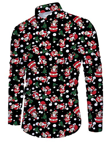 Christmas Long Sleeve Dress Shirts for Men Plaid White Snowball Slim Fit Casual Raglan Tops 80s Boy Funny 3D Red Cartoon Santa Claus Printed Vintage Hawaiian Beach Party Tacky Clothes, Black XL