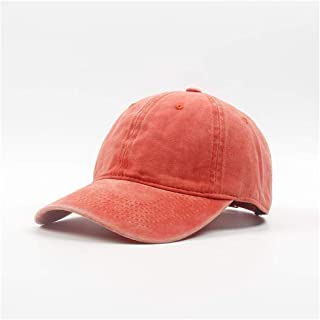 2020 Womens Hats Caps Sun Hat Baseball Cap Spring Autumn Hat Fashion Casual Soft Decoration Lighting Adjustable Summer Outdoor Cap Washed Baseball Cap Old Cowboy (Color : Orange, Size : 56-60CM)