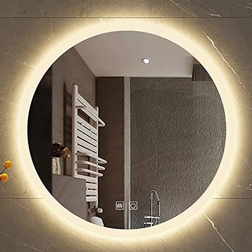 MeTikTok Espejo de baño Redondo de 60 cm, Espejo de Pared de Maquillaje Inteligente para Dormitorio montado en la Pared con lámpara de Ahorro de luz con Interruptor táctil,Warm,Led Switch&Antifog
