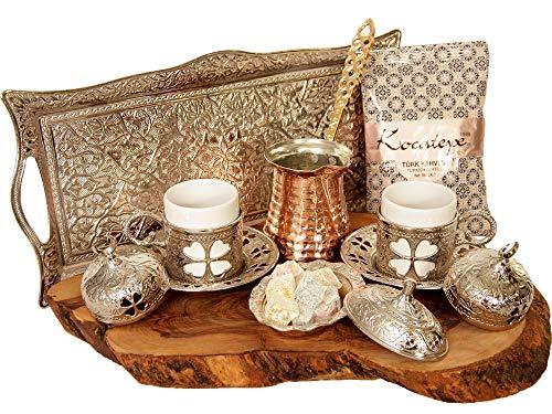 Türkischer Luxus Ottoman Kaffee & Espresso Set von 2 mit Kupfer Kaffeekanne und Kocatepe Türkischer Kaffee, traditionelles stilvolles Design, 13-teilig (Silber)