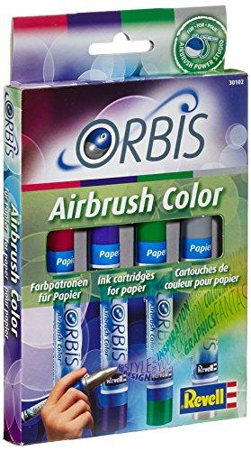 Orbis Airbrush, Orbis-Farbpatronen, Papierfarbenset mit 4 Farben, für Papier, Pappe, unbehandeltes Holz, Leinwand etc., einfacher Wechsel der Airbrushfarben - Kirschrot, lila, dunkelgrün, grau 30102