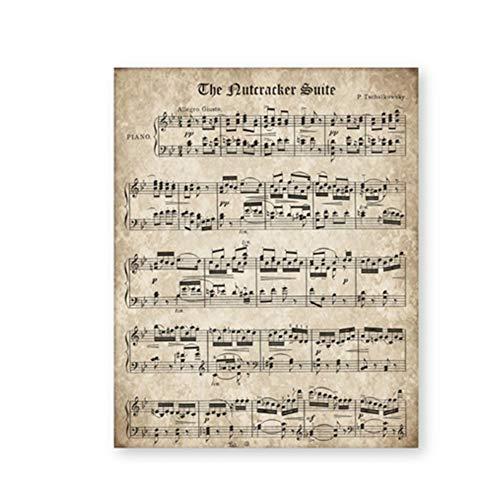 ZYHFBHFBH afbeelding op canvas notenkraker notenboek vintage poster en afdrukken muziek voor piano muurschildering decoratie voor thuis 60x90cm(23.6