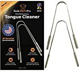 Tongue Scraper Cleaner (2 Pack) Smile Dent Pro, Stainless Steel Metal, Tongue Brush, Sweeper, Get Rid of Bad Breath for Oral Care and Mouth Hygiene