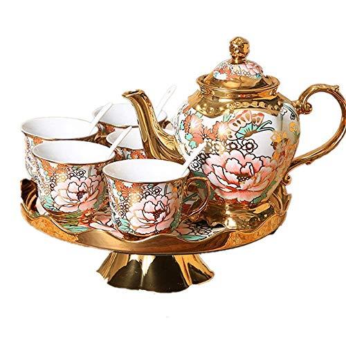 n.g. Wohnzimmerzubehör Teesets für Erwachsene inklusive 6 Stück Teetasse und Löffel mit 1 Teekanne Drehbares Teetablett Schönes Keramik-Teetassenset für Zuhause und Büro