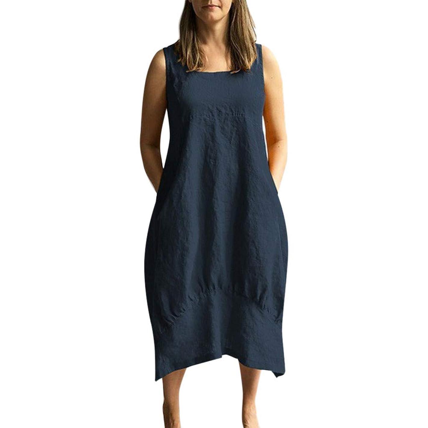 ロンドン中央値くすぐったいワンピース レディース Rexzo ノースリーブ 純色 ロングスカート 柔らかい 着心地 綿麻ワンピース 体型カバー きれいめ 上品 リネンワンピ 無地 シンプル ドレス 着痩せ カジュアル スカート 日常 お出かけ ルームウェア