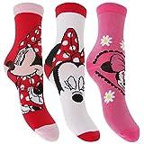 Disney Kinder Mädchen Socken Minnie Maus Design (3er Packung) (27-30 EU) (Rot/Weiß/Pink)