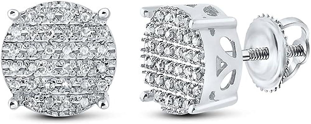 10kt White Gold Mens Round Diamond Cluster Earrings 1/5 Cttw