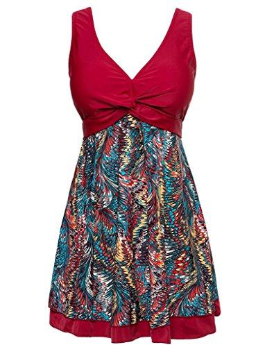 wincolor de una pieza para mujer Plus tamaño floral impreso Moldeador cuerpo Swimdress traje de baño